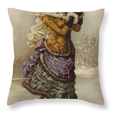 Vintage Christmas Card Throw Pillow