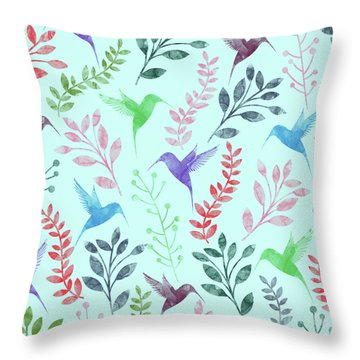 Watercolor Floral And Birds Throw Pillow