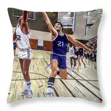 Throw Pillow featuring the painting 70's Layup by Kevin Daly
