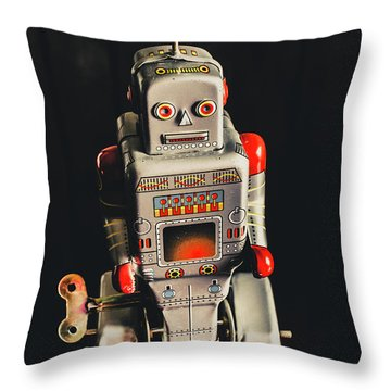 70s Mechanical Android Bot  Throw Pillow