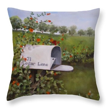 71 Cedar Lane Throw Pillow by Karen Olson