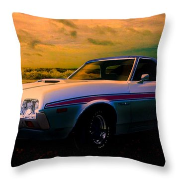 72 Ford Ranchero By The Sea Throw Pillow
