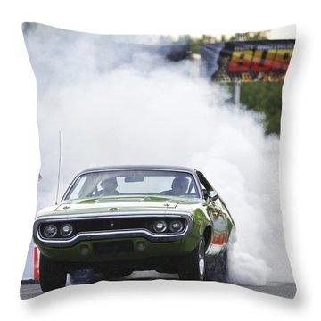 '72 Roadrunner Burn Out Throw Pillow