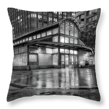 72nd Street Subway Station Bw Throw Pillow