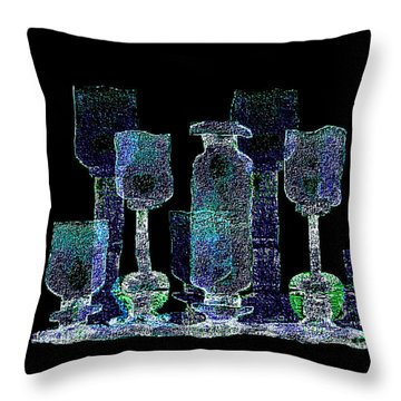 762 - Bottle And Glasses Throw Pillow
