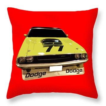 77 Yellow Dodge Throw Pillow