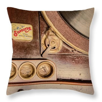 Throw Pillow featuring the photograph 78 Rpm And Accessories by Gary Slawsky
