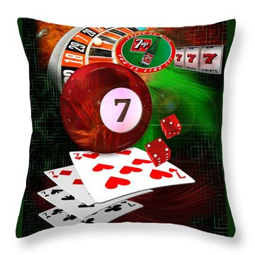 7's Up Throw Pillow by Draw Shots