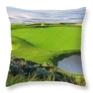 7th Hole At Pebble Beach Hol Throw Pillow