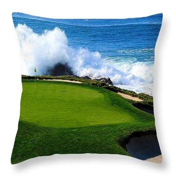 7th Hole - Pebble Beach  Throw Pillow