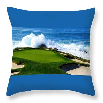7th Hole - Pebble Beach  Throw Pillow