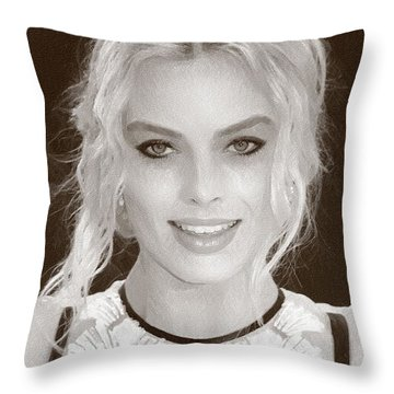Actress Margot Robbie Throw Pillow by Best Actors
