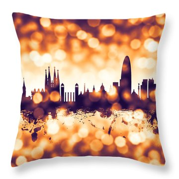 Barcelona Spain Skyline Throw Pillow