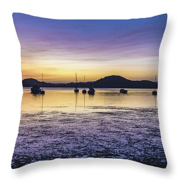Dawn Waterscape Over The Bay With Boats Throw Pillow