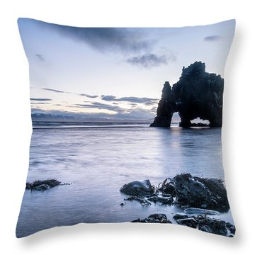 Dinosaur Rock Beach In Iceland Throw Pillow