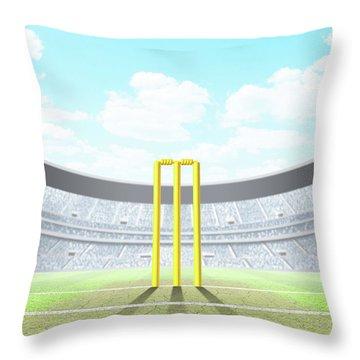 Floodlit Stadium Day Throw Pillow