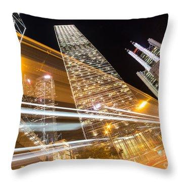 Hong Kong Night Rush Throw Pillow