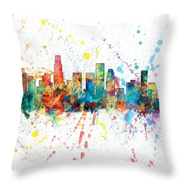 Los Angeles California Skyline Throw Pillow by Michael Tompsett