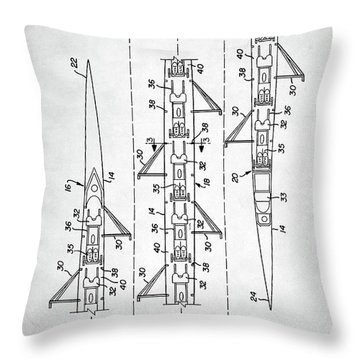 Throw Pillow featuring the digital art 8 Man Rowing Shell Patent by Taylan Apukovska
