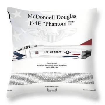 Throw Pillow featuring the digital art Mcdonnell Douglas F-4e Phantom II Thunderbird by Arthur Eggers