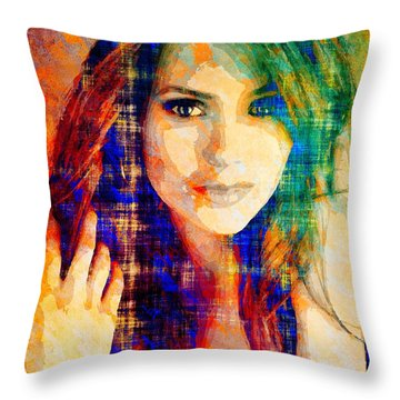 Nina Dobrev Throw Pillow by Svelby Art