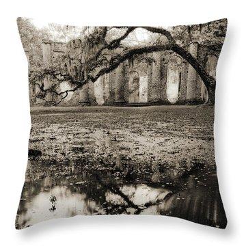 Old Sheldon Church Ruins Throw Pillow by Dustin K Ryan