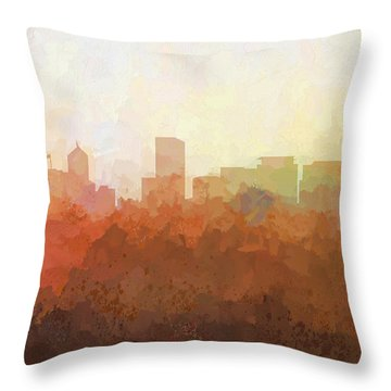 Throw Pillow featuring the digital art Portland Oregon Skyline by Marlene Watson