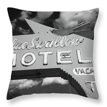 Route 66 - Blue Swallow Motel Throw Pillow by Frank Romeo