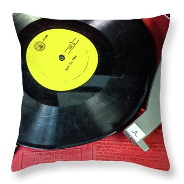 Throw Pillow featuring the photograph 8 Rpm Record Player by Gary Slawsky