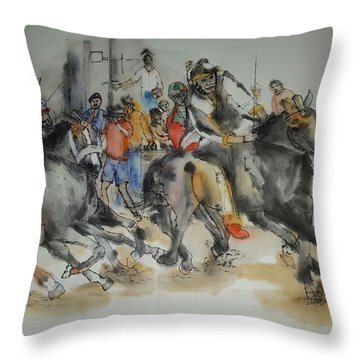 Throw Pillow featuring the painting Siena And Their Palio Album by Debbi Saccomanno Chan