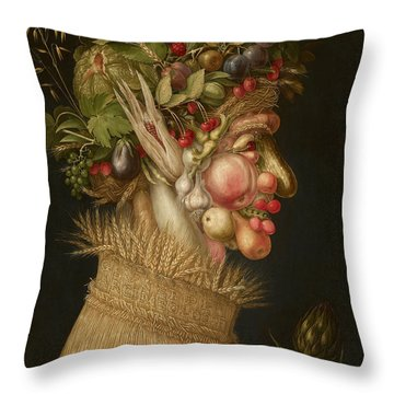 Summer Throw Pillow by Giuseppe Arcimboldo