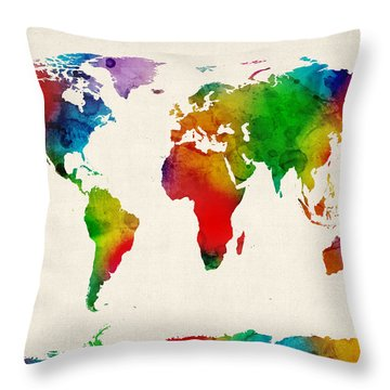 Throw Pillow featuring the digital art Watercolor Map Of The World Map by Michael Tompsett