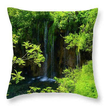 Waterfall In Plitvice National Park In Croatia Throw Pillow