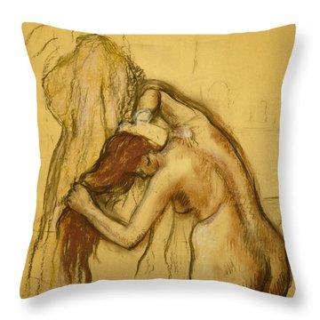 Woman Drying Herself Throw Pillow by Edgar Degas