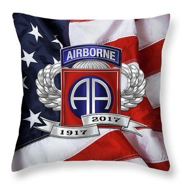 82nd Airborne Division 100th Anniversary Insignia Over American Flag  Throw Pillow