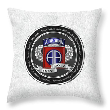 82nd Airborne Division 100th Anniversary Medallion Over White Leather Throw Pillow by Serge Averbukh