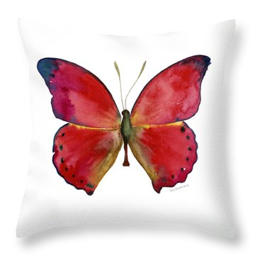 83 Red Glider Butterfly Throw Pillow