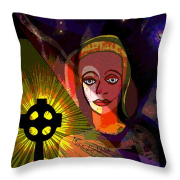 Throw Pillow featuring the digital art 863 - A Celtic Cross by Irmgard Schoendorf Welch