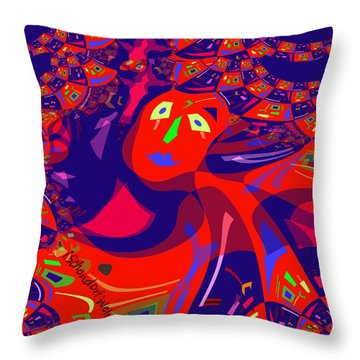 873 - Clown Lady Pop  -2017 Throw Pillow by Irmgard Schoendorf Welch