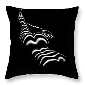 8897-slg Zebra Woman Legs Up Black And White Photograph By Chris Maher Throw Pillow