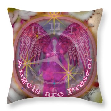 #8913_444 Angels Are Present  Throw Pillow by Barbara Tristan
