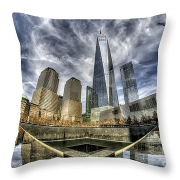 Throw Pillow featuring the photograph 9/11 Memorial - Nyc by Rafael Quirindongo
