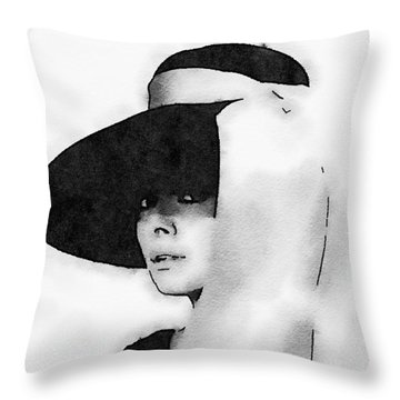 Audrey Hepburn Throw Pillow by John Springfield