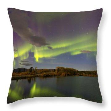 Aurora Borealis With Moonlight At Fish Throw Pillow by Joseph Bradley