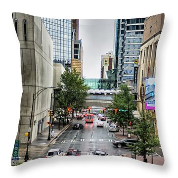 Charlotte North Carolina Views Around  Downtown Throw Pillow