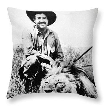 Ernest Hemingway Throw Pillow by Granger