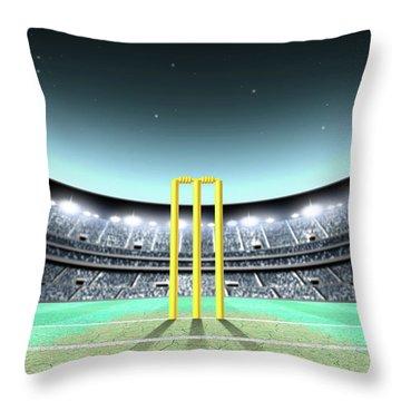 Floodlit Stadium Night Throw Pillow