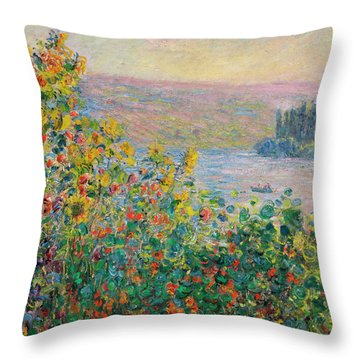 Flower Beds At Vetheuil Throw Pillow