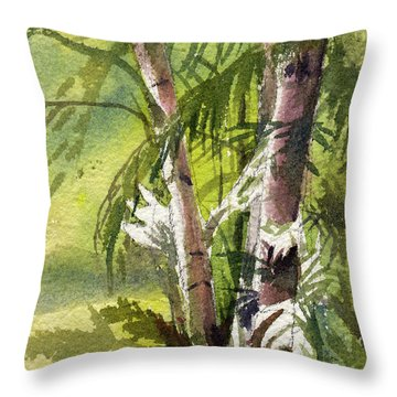 Throw Pillow featuring the painting It's A Jungle Out There by Kris Parins