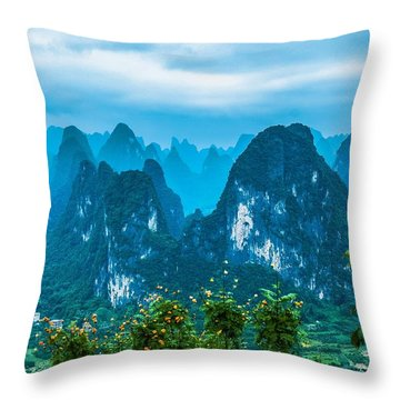 Throw Pillow featuring the photograph Karst Mountains Landscape by Carl Ning